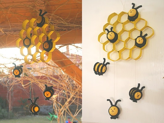 Wonderful Diy Cute Bee Hive Decoration From Paper Rolls