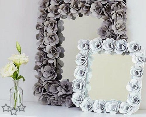 Decorative egg carton mirror Incredible Egg Carton Flower Mirror Frame   Inspiring Ideas