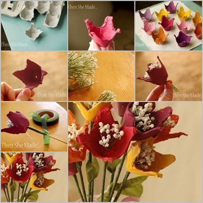 Flower Bouquet from egg carton F Wonderful DIY  Pretty Flower Bouquet From Egg Carton