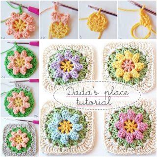 Wonderful DIY Crochet Flower Granny Squares