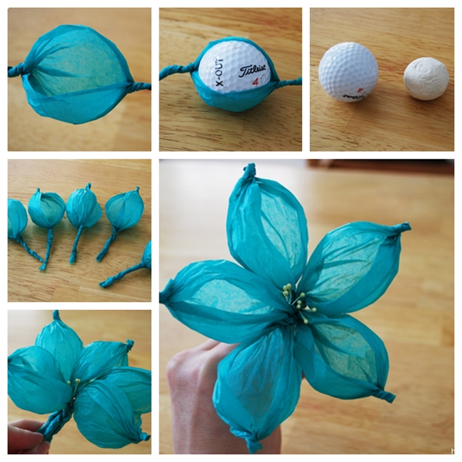 Golf Ball Paper Flower  F