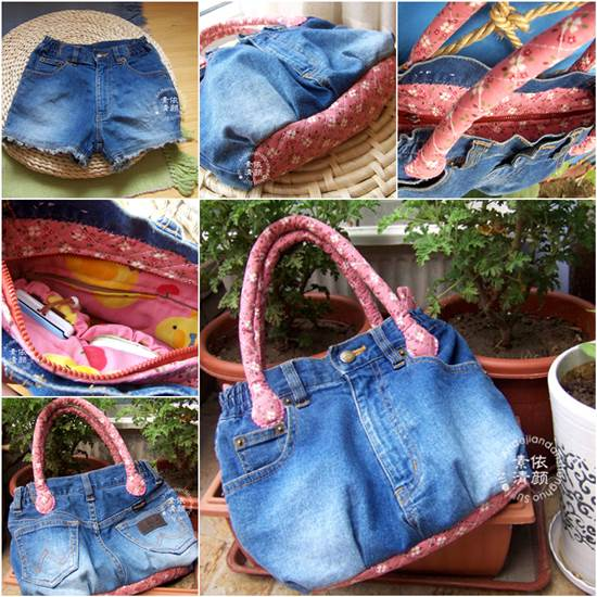 How to DIY Easy Handbag from Old Jeans Wonderful DIY Easy Wood Handle Handbag