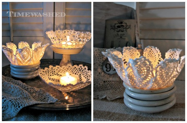 Lace Doilies Candle Holders