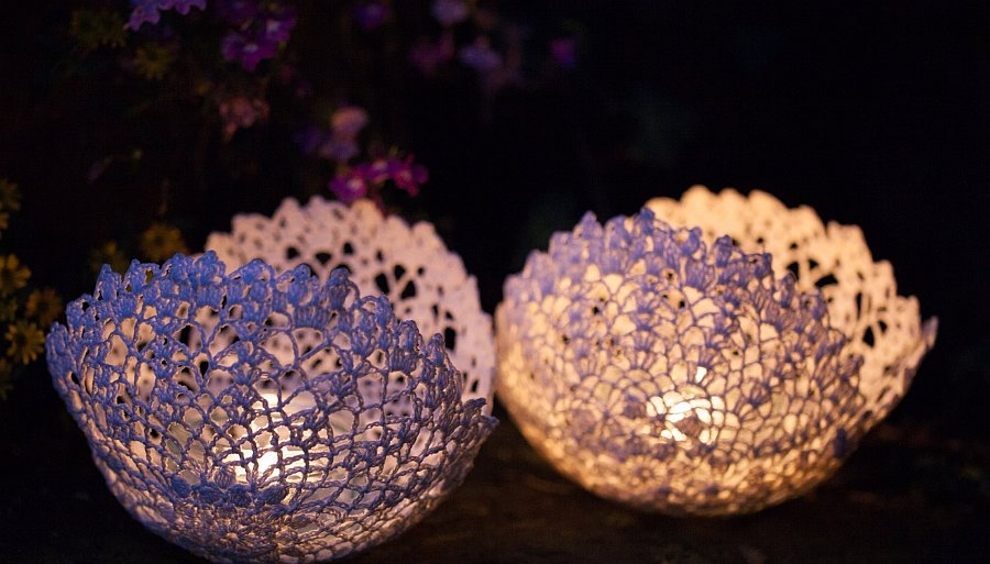Lace bowl candle hoder Decorative Doily Candle Holders   Handmade in Minutes