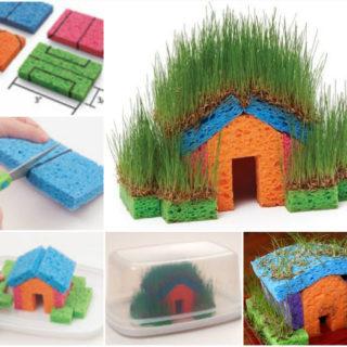 Educational DIY Mini Grass Houses for Kids