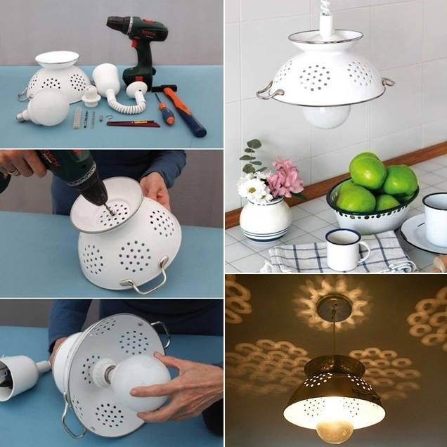 Wonderful diy beautiful pendant lamp from colander mozeypictures Image collections