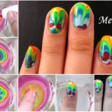 Wonderful DIY Rainbow Marble Nail Art