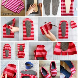 Wonderful DIY Cozy Upcycled Sweater slippers