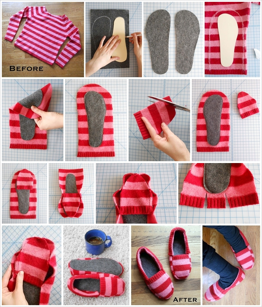 Slipper Wonderful DIY Cozy Upcycled Sweater slippers