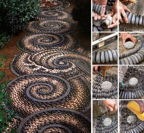 Spiral Rock Mosaic Path  Wonderful DIY Spiral Rock Mosaic Path