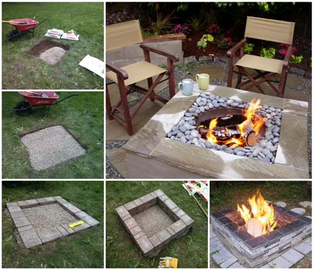 Square Fire Pit Wonderful DIY Easy Fire Pit In Backyard