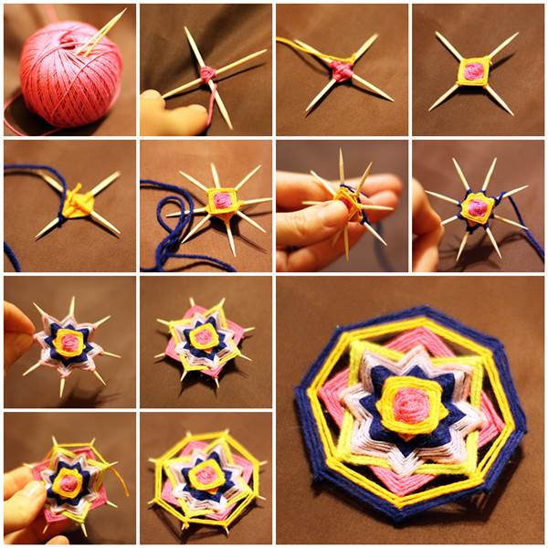 Toothpicks Woven Mandala Brooch  Wonderful DIY  8 Sides Mandala Brooch With Toothpicks