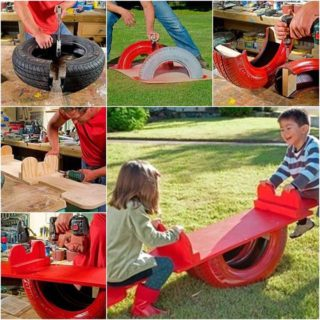 Wonderful DIY Kids See Saw From Old Tyre