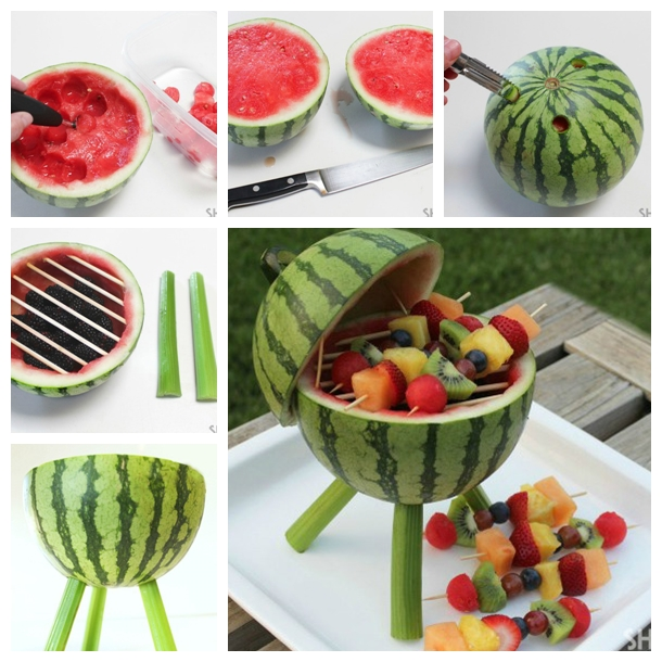 Wonderful diy creative watermelon grill centerpiece - Presentation de brochette de fruits ...