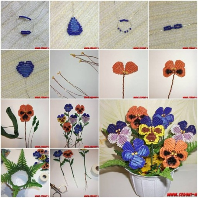 beads pansy flower F