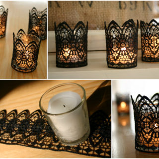 Wonderful DIY Romantic Black Lace Candles