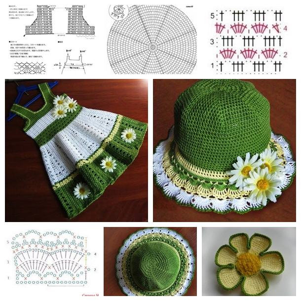 crochet girls dress hat set F Crochet Girls Hat and Dress Set   Tutorial and Guide