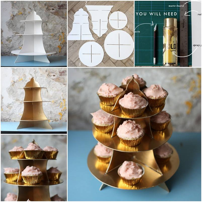 easy diy cardboard cupcake stand free template guide. Black Bedroom Furniture Sets. Home Design Ideas