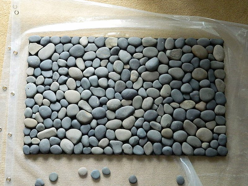 diy bathroom stone mat