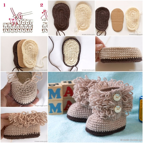 diy crochet baby booties ugg style f Wonderful DIY Cute Knitted Baby Booties With Pom Pom Decoration