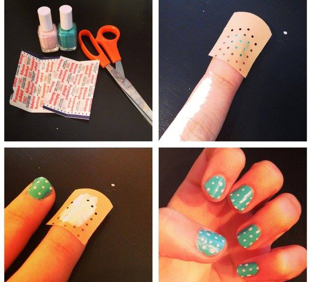 Cute polka dot nail art tutorial view in gallery diy easiest polka dot nail art use a band aid cute polka dot nail art tutorial solutioingenieria Gallery