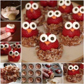 Wonderful DIY Sweet Strawberry Owls With Crispy Nests