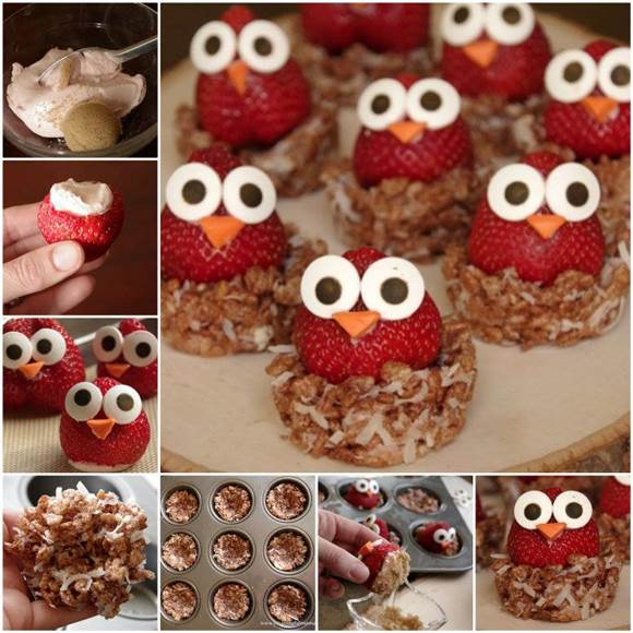diy owl strawberries with philadelphia cream cheese1 Wonderful DIY Sweet Strawberry Owls With Crispy Nests
