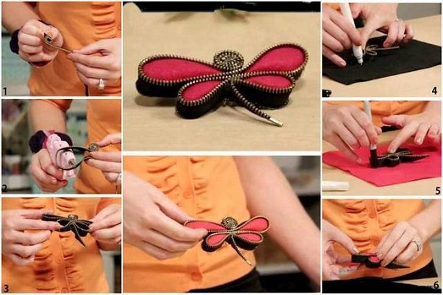 dragonfly brooch with zippers F Wonderful DIY  Lovely Dragonfly Brooch with  Zippers