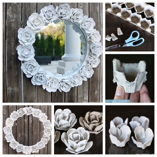 Wonderful diy egg carton rose mirror decoration Egg carton flowers ideas