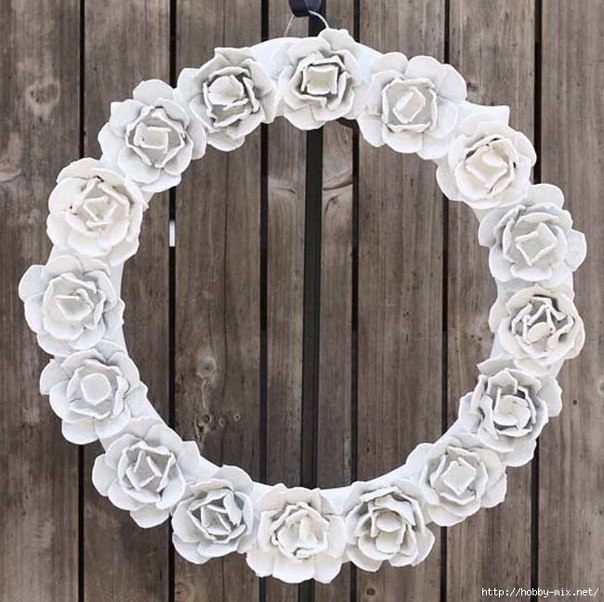 egg carton Flower Mirror Decoration8
