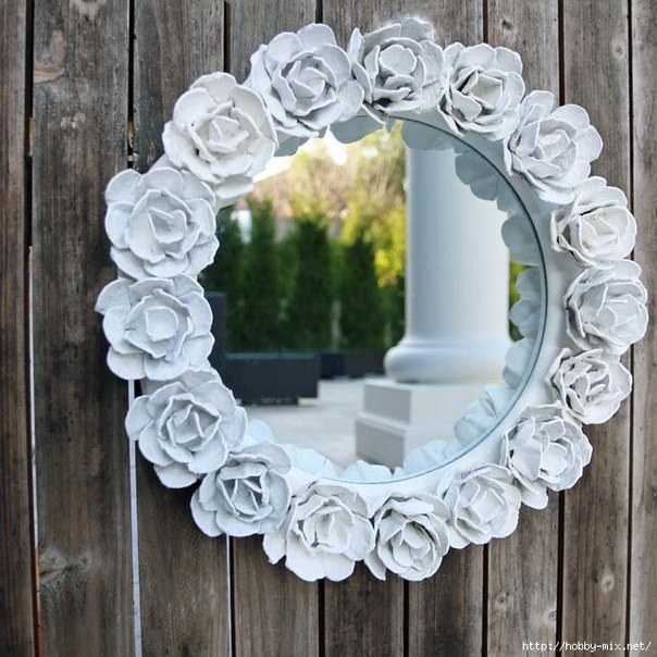 egg carton Flower Mirror Decoration9