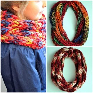 Wonderful DIY Colorful  Finger Knitting Scarf