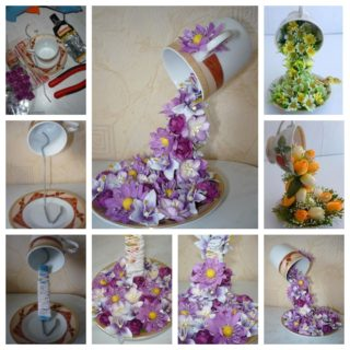 Wonderful DIY Topiary Flower Flying Cup Decor