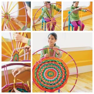Wonderful DIY Hula Hoop Woven Rug From Old Shirts