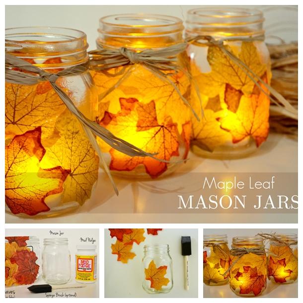 leaf mason jar candle holder from mason jar F