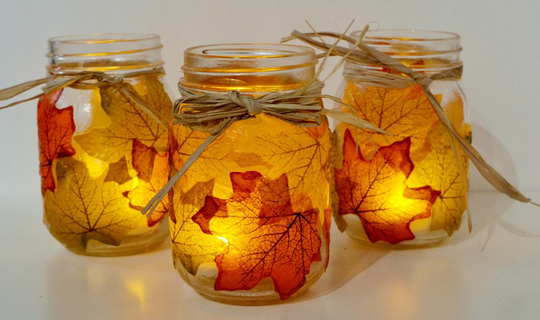 leaf mason jar candle holder from mason jar3