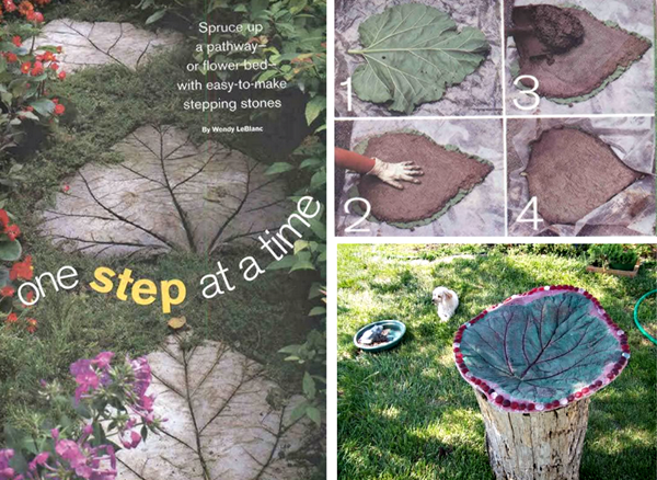 leaves stone stepping F Wonderful DIY Leaf Shaped  Stepping  Stones