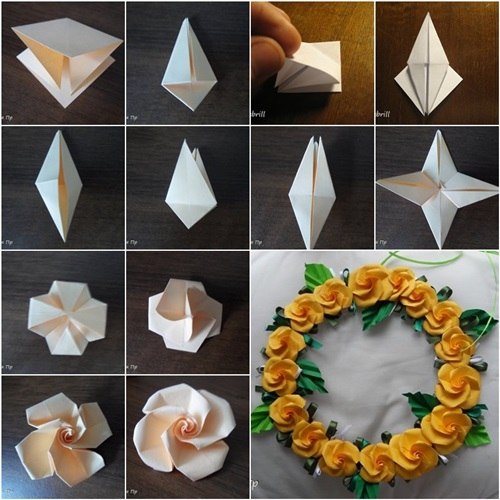 Origami Rose Easy - Origami Tutorial - YouTube | 500x500