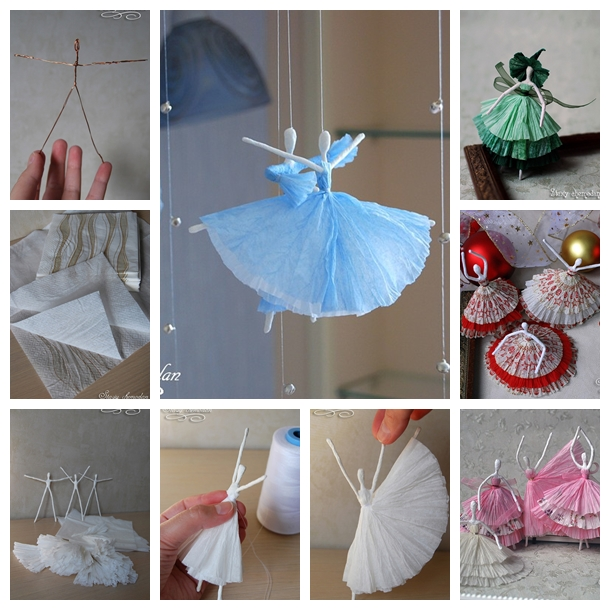 Decorating Paper Crafts For Home Decoration Interior Room: Wonderful DIY Creative Paper Ballerinas With Napkin And Wire