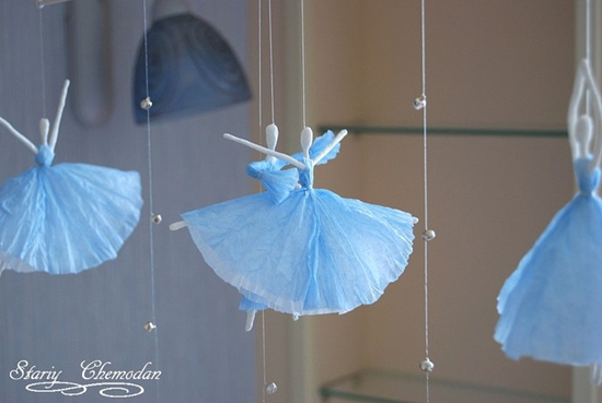 paper ballerinas0 Wonderful DIY Creative Paper  Ballerinas With Napkin and Wire
