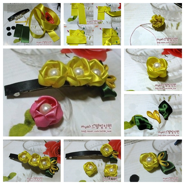ribbon-flower-hair-clip F