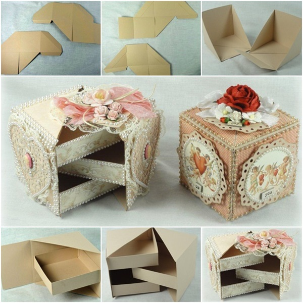 diy beautiful secret jewelry box from cardboard. Black Bedroom Furniture Sets. Home Design Ideas