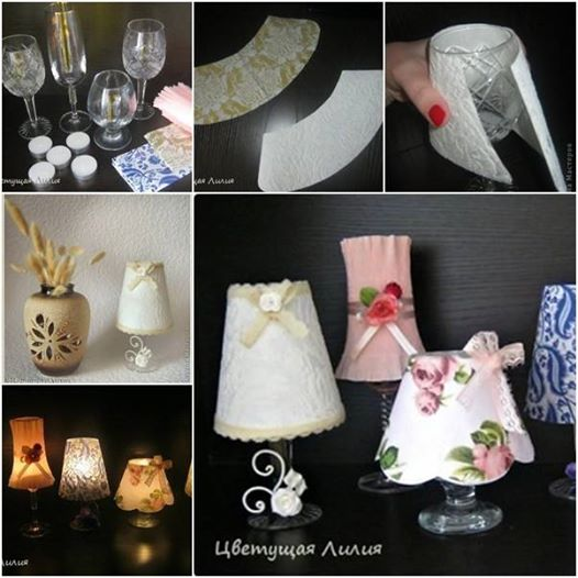 wine glass candle lamp DIY Wonderful DIY Gold Sequin Lamp Shade