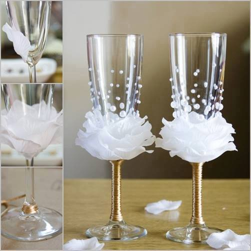 wine glass decorate F  Wonderful DIY  Wine Glasses Decoration With Flowers and Beads