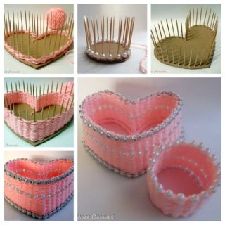 Wonderful DIY Lovely Yarn  Busket From Carboard