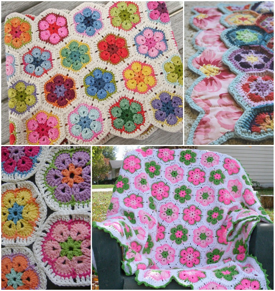 African Flower Crochet Blanket Crochet African Flower Blankets   Free Pattern and Video Tutorial