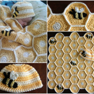 Wonderful DIY Crochet Baby Blanket and Hat Set