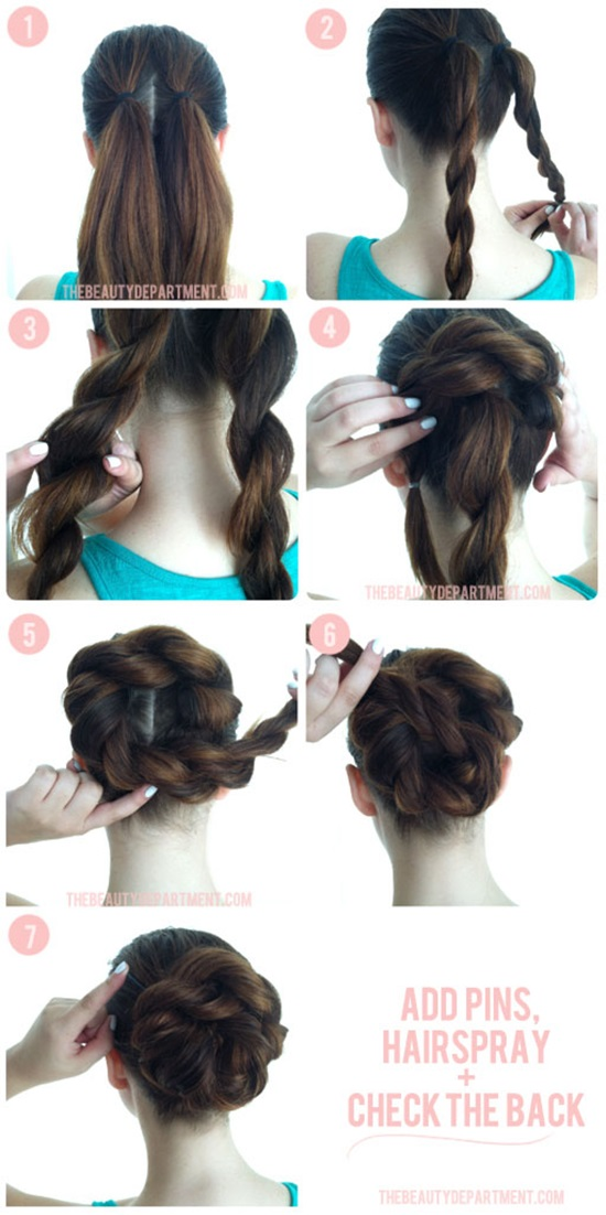 Braided rope Bun Hairstyle 1 Wonderful DIY Twist Double Rope Bun Hairstyle