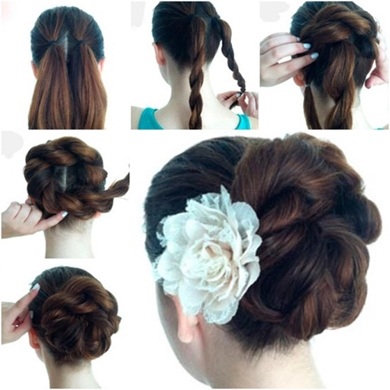Braided rope Bun Hairstyle Wonderful DIY Twist Double Rope Bun Hairstyle