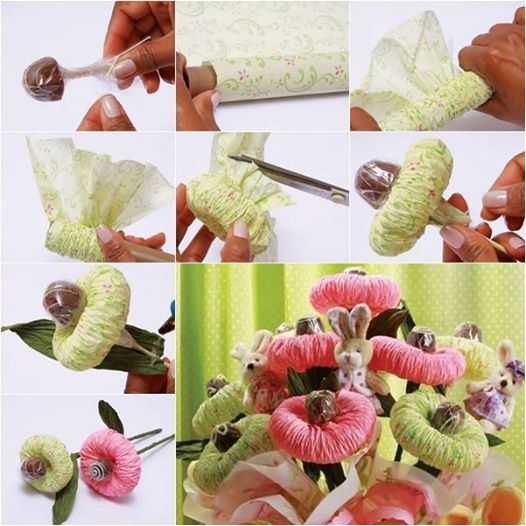 Chocolate  Paper Flower Bouquet f